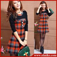 Free shipping OL School girl dresses 2013 FASHION womens Evening party knee length long sleeve cotton lace dress S M L XL WA042