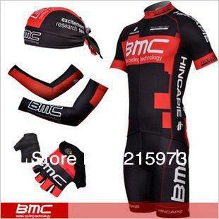Full Sets! 2 Styles 2012 BMC Team Red/Black Cycling Short Jersey + Bib Shorts + Scarfs + Armwarmers +Gloves-FS001 Free Shipping!