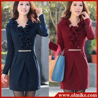 SALE hot style women fashion Korean OL slim long-sleeved dress Chiffon Ruffle knit dresses lady wear clothes free shipping WA039
