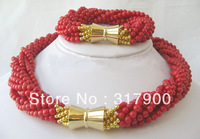 charming 18&quot; 10row 4-5mm natural red coral necklace &amp; bracelet