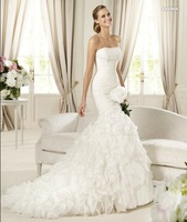 2013 wedding fish tail lace bride Wedding Dress tube top fashion quality  Mermaid Tail Wedding Dress