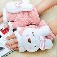 Free Shipping Gloves Women winter cartoon rabbit semi-finger gloves thermal rabbit cat thick semi-finger gloves Mittens