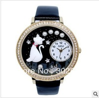 Free shipping mn1012 women's electronic wristwatches 3D diamond style soft ceramic water resistant lady's leather quartz watches