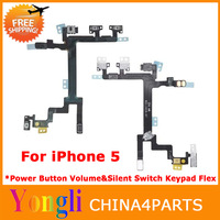 5pcs/lot Original Brand New For IPHONE 5 POWER MUTE VOLUME BUTTON SWITCH CONNECTOR FLEX CABLE RIBBON PARTS free shipping