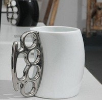 10pcs/lot DHL Free shipping Fisticup Coffee Mug with Brass Knuckle Handle ceramic mugs Practical gift