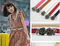 Fashion Strap Women's Lady Female Rose Flower Buckle Multicolor Belt  Waistband Decoration, Free shipping, 4pcs/Lot, 4 colors S9