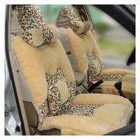 Winter car seat cushion leopard print women's short plush seat cushion car mats pulvinis