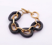 Wholesale Cool Lady's Fashion Golden Black Chain Bracelets Elegant Womens Bracelet Jewelry SJS076