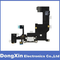 100PCS X White Charger Dock Connector Charging Port and Headphone Jack Flex Cable for iPhone 5,free DHL/EMS