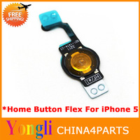 130pcs/lot  Free DHL/EMS 100% Original New Home Button Flex Cable for iPhone 5 5G free shipping