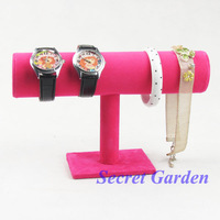 2 High Quality Watch Bracelet Display Stand T-Bar Velvet Dark Pink TVF-RYTB-01II