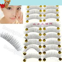 Free Shipping New 50 Pairs Handmade Fake False Eyelash Natural Look Transparent Stem 8424