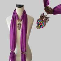 Scarf,Owl Pendant ,Ancient Bronze,Nickel-free,Environmentally Friendly Materials,16 Colors,180*40cm,Free Shipping Wholesale