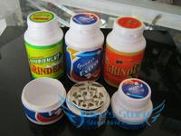 Free shipping 6pcs/lot Creative chewing gum 3-layer Metal herb grinder Tobacco Grinder Machine manual Gift  GR081