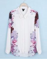 free shipping 2013 fashion lady Round neck wave point long-sleeved chiffon shirt dot fashion shirt Pocket decoration top ft075