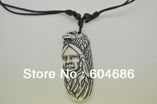 White Yak Bone Carved Indian Style Eagle Pendant Necklace Jewelry Wholesale And Retail Size 70mm*30mm 12Pcs/Lot Free Shipping(China (Mainland))