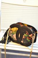 Free shipping Ol handbag fashion chain vintage oil painting flower bags rose print women's handbag one shoulder small bag