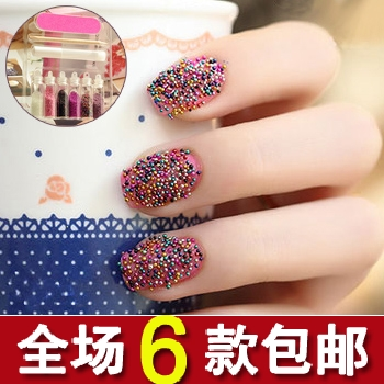 Free shipping 7656 fashion recessionista nail art decoration multicolour bead nail art supplies set caviare finger set(China (Mainland))