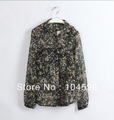 2013 Spring Ladies sheer Blouse casual turn down collar Camouflage long sleeve tops chiffon shirts for women,LF1238