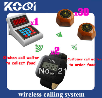 Wireless Waiter Call System ; Guest call waiter to order Chef call waiter to pick up order DHL Free Shipping