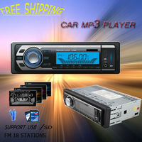 Free shipping universal car audio player support FM /usb/SD/fix panel/mp3 car