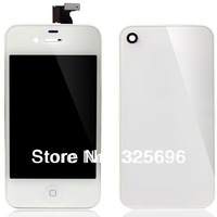 White for iPhone 4 GSM Front lcd display Touch Screen Glass Touch Panel assembly+ Back Cover+ Home Button Conversion kits