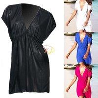 S5Y New Deep V Beach Party Lady Sexy Swimwear Nylon Bikini Cover Up Shirt Dress