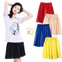 S5Y Women Retro High Waist Pleated Double-layer Chiffon Mini Short Pompon skirt