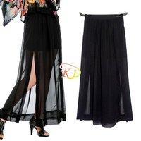 S5Y Womens Sexy Black Sheer Maxi See-Through Chiffon Side Splits Long Full Skirt