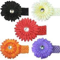 S5Y Baby Girl Crochet Headband Hair Band with Daisy Flower
