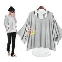 S5Y New Casual 2 pcs Women Cotton Short Sleeve Loose T-shirt Vest Tops Shirt 6 Color