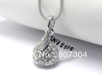 free shipping 5pcs a lot kisses chocolate pendant necklaces with rhodium plated