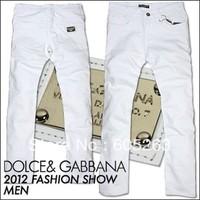 2013 fashion casual interpretation of luxury square OEM mill white men  white jeans