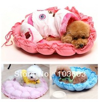 Drawstring pumpkin-shaped pet cotton nest + heart-shaped pillow, cat nest pads, blankets, kennel, dog bed, 5 color Free Shipping