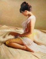 "Handcraft Art Nude Female Portrait Oil Painting 24""x36"" inch"