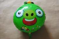 "PT0061 Big 21"" Inch Round Green PIG Cartoon Foil (Mylar) Balloon, Party Supply, 10pcs/lot, free shipping"
