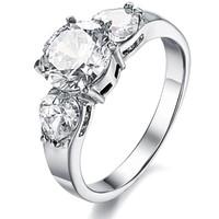Handmade Women Finger Wedding Jewelry Ring Stainless Steel CZ Diamond Big Crystal Inlaid Factory Price Free Shipping 2922