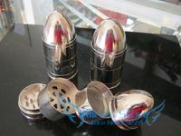 Free shipping (dia 4cm) Creative Bullet 4-layer Metal herb grinder Silver Tobacco Grinder Machine manual Gift GR009