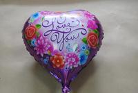 "PT0035 Big 18"" Inch 46cm ""I LOVE YOU"" Heart-Shaped Mylar (Foil) Balloon, Romance, 10pcs/lot, free shipping"