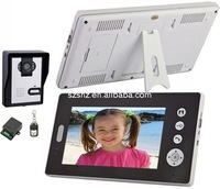 Free shipping 7'' screen 2.4GHz Digital wireless video door intercom 1 to 2 ,remote control unlocking