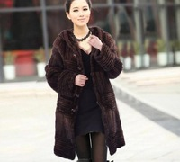 GENUINE REAL KNITTED MINK FUR COAT WITH HOOD AND BELT/LONG NEW STYLE BLACK COFFEE LADY'S WARM WINTER AUTUMN COAT FREE SHIPPING