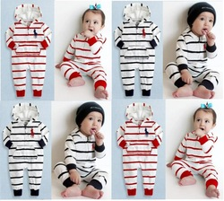 NEW Hot selling hoodies baby stripe romper Long sleeve fashion kids clothing cotton boy&amp;girl jumpsuit 6pcs/lot free shipping(China (Mainland))