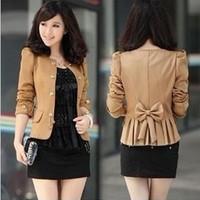 Free Shipping hot sale fashion Lady's Basic Slim Short Coat JACKET Blazer Puff sleeve Bowed Back Bowknot 3