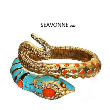 Freeshopping SEAVONNE Retro pop Blue Gold Crystal Snake Bracelet  bangle gold  Bracelet B8526