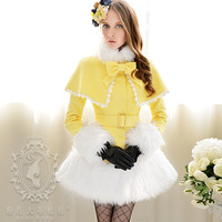 winter Bright Yellow-white cloak paragraph expansion bottom wool coat outerwear female
