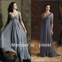 Lace Beaded V-neck Chiffon Maxi Chiffon 2013 Hot Sale Gray Color Long Sleeve Evening Dresses