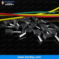 Free Shipping TE1508 2 X 16 AWG Black Twin & Dual Entry Wire & Bootlace Ferrules For 2 X 1.5mm2, 8mm of Pin Length