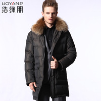 Male medium-long fur collar down coat male casual Men men's clothing