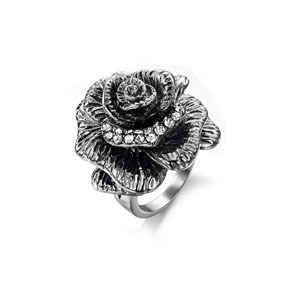 ring,2013 Exaggerated big flower ring,stainless steel with rhinestone rose rings,factory price,mini order 2ps(China (Mainland))