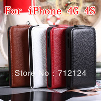 High Quality Real Genuine Leather Flip Case Cover Pouch For Iphone 4 4G 4S Iphone4g Iphone4s ,DHL Free Shipping